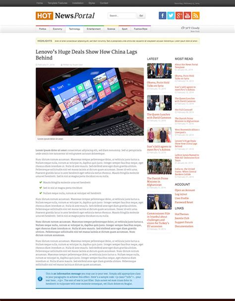 template joomla news portal hot news portal joomla template themes templates