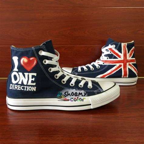 one direction uk flag converse shoes painted canvas