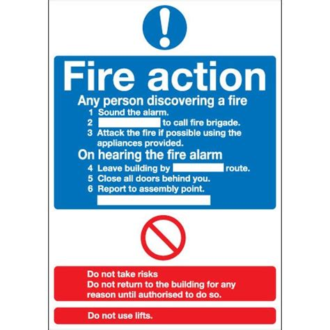 essential fire action notice instruction signs safetyshop