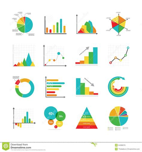diagram chart graph set of business marketing dot bar pie charts diagrams and