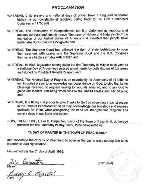 libro prayers proclamations nc mayoral proclamations for the national day of prayer