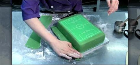 how to decorate a soccer field football pitch cake