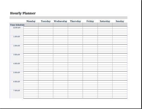 Hourly To Do List Template Exles And Forms Hourly Schedule Template Word