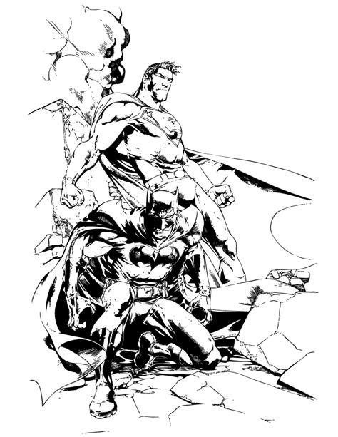 comic book coloring pages print dc comics batman and superman coloring page h
