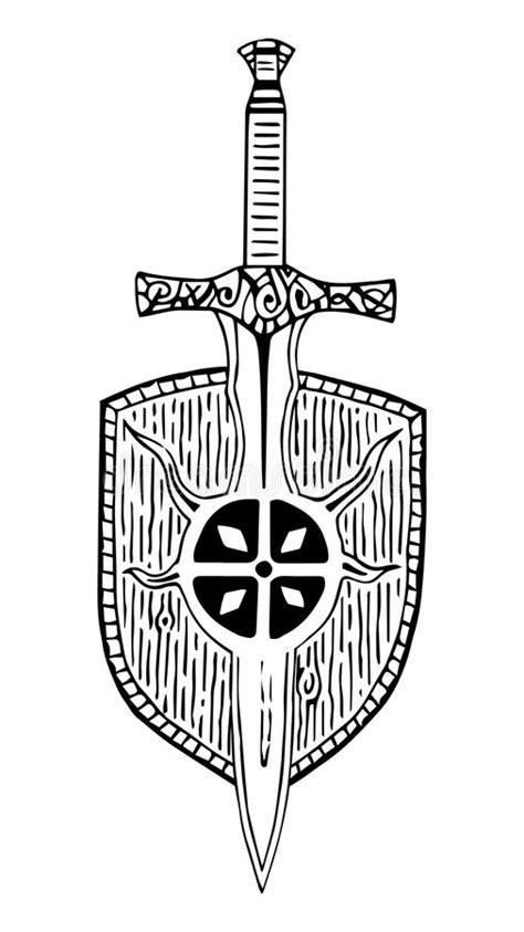 pattern viking sword shield ancient tattoo black and white