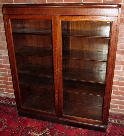 antique tiger oak glass door bookcase exceptionally