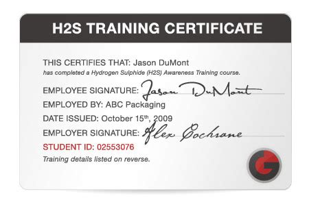 H2s Card Template go safety easy to use certification for whmis