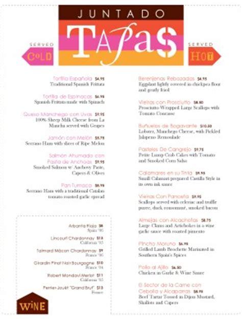spanish tapas menu tapas menus