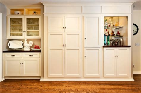 Built In Kitchen Cabinets by White Built In Kitchen Cabinet And Pantry Traditional