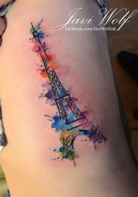 torre eiffel en acuarelas by javi wolf tatuajes para