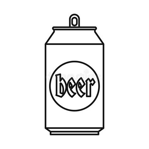 beer cartoon black and white beer can icon outline style stock vector illustration