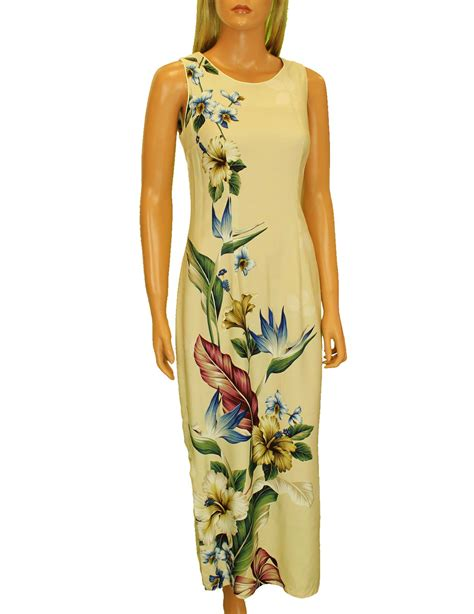 Long Maxi Hawaiian Dress Birds of Paradise Hibiscus Design: Shaka Time Hawaii Clothing Store