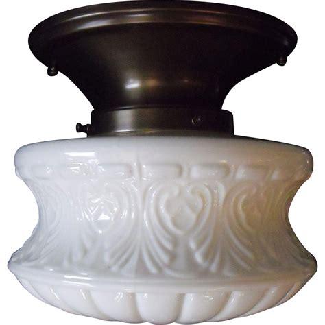 Milk Glass Light Fixtures Embossed Milk Glass Ceiling Light In Original Brass Fixture