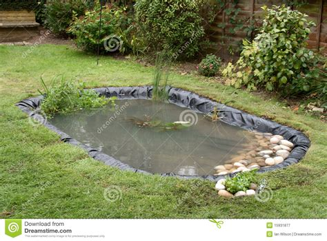 making a backyard pond making a garden pond stock image image of lillies rubber
