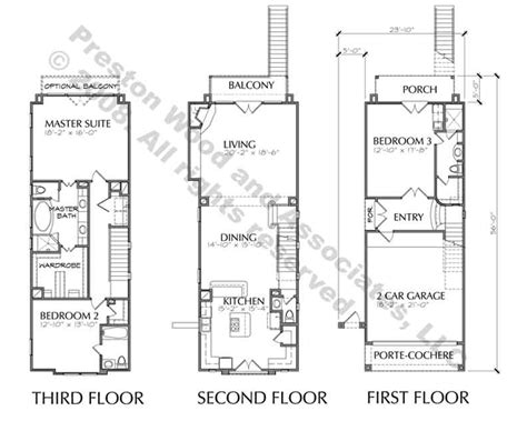 3 story townhouse with balcony floor plan