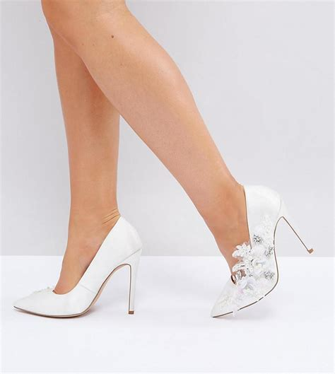 high heels wide fit lyst asos pavlova wide fit embellished high heels in white