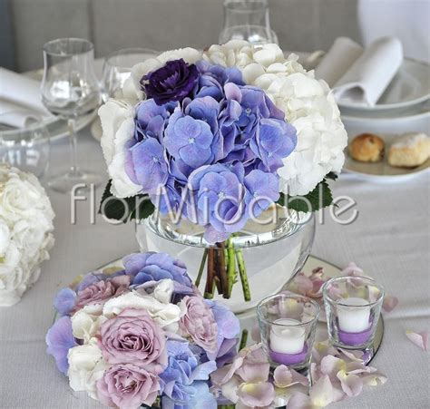 tavoli verdi gratis centrotavola romantico con ortensie e sfumate di