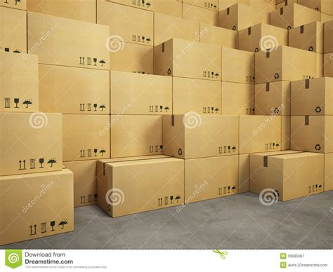 sur la table warehouse warehouse with stack of cardboard boxes stock photo