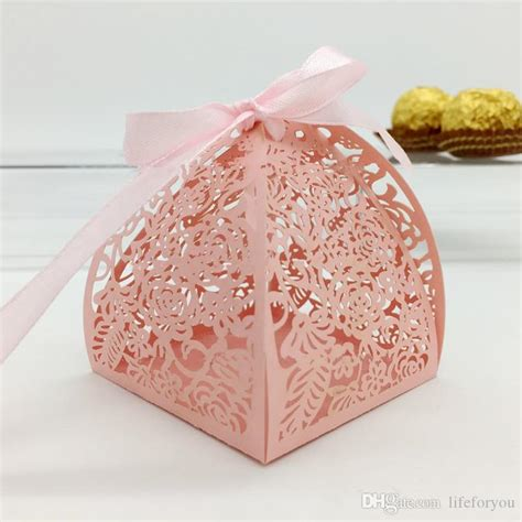 pink decorative christmas boxes wedding favor candy box mini laser engraved gift box party