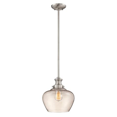 Small Pendant Light Fixtures Shop Millennium Lighting 11 In Nickel Industrial Mini Clear Glass Acorn Pendant At Lowes