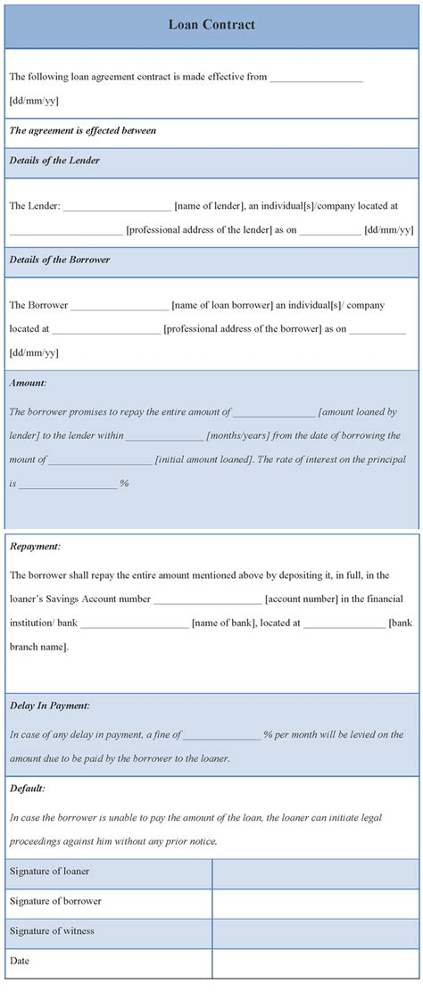 contract template contract template for loan format of loan contract