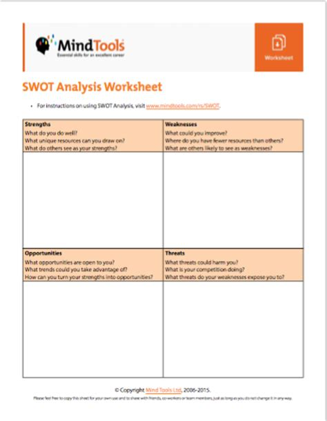 Swot Analysis Worksheet by Mind Tools On Quot Where Next For Your Organization
