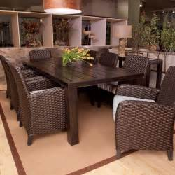Outdoor Patio Dining Furniture Anacara Carlysle All Weather Wicker Dining Set Seats 8 Dining Patio Sets At Contemporary