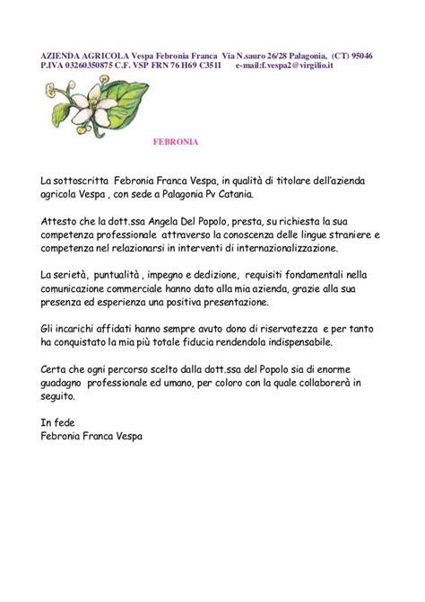 lettere di referenze fac simile lettera di referenze febronia vespa