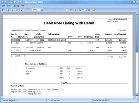 format htm adalah debit note