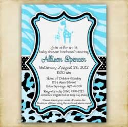 blue cheetah baby shower blue zebra and leopard print giraffe baby shower invitation