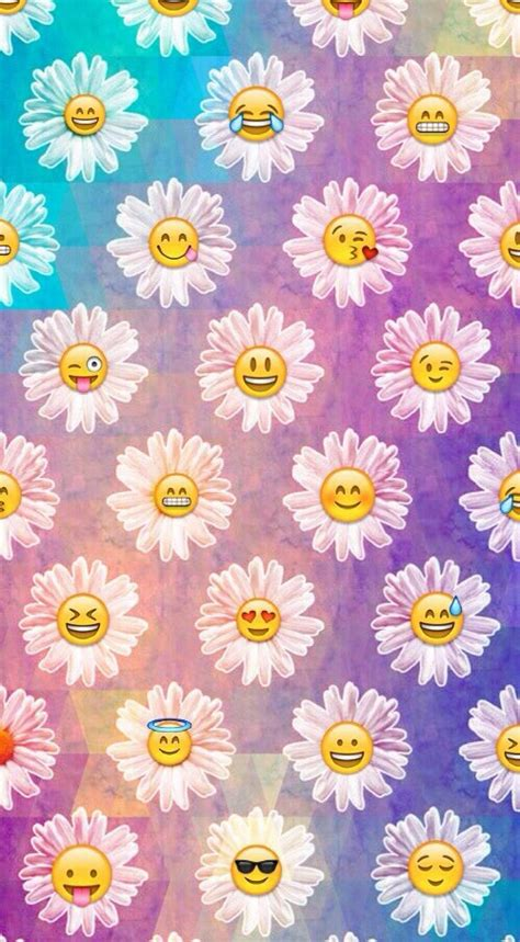 wallpaper emoji flower background blue cute emoji flower flowers pink