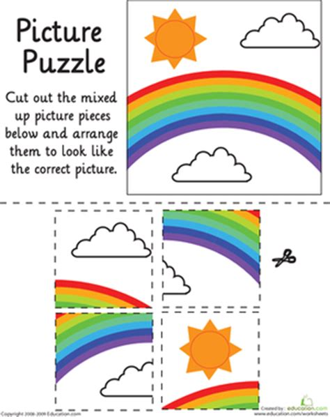printable puzzle games for preschoolers rainbow picture puzzle worksheet education com