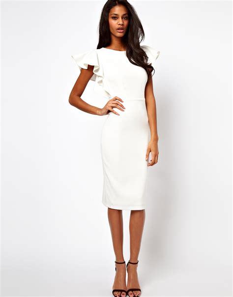 womens clothing asos pencil dress with ruffle sleeves in white lyst