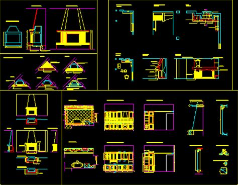 kitchen  fireplace stove details  autocad cad