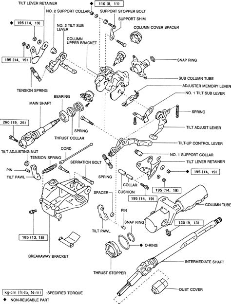 how to disassemble a tilt steering column 1996 mazda mx 3 repair guides steering steering