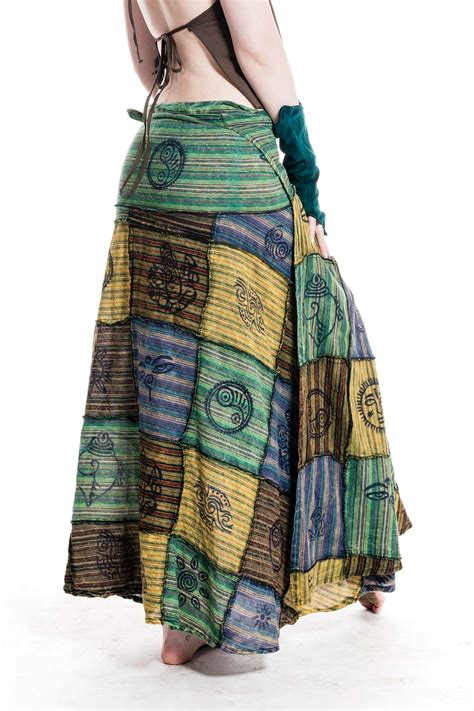 Patchwork Skirts - earthy hippy patchwork wrap skirt altshop uk