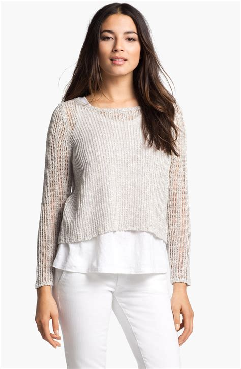 Boxie Sweter eileen fisher ballet neck boxy sweater in beige lyst