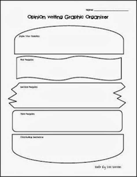 printable hamburger organizer the open door classroom opinion writing graphic organizer