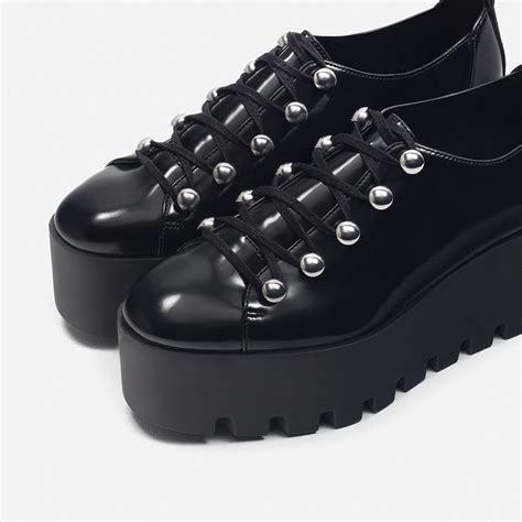 black flat platform shoes zara flat platform shoes in black lyst