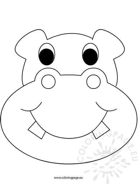 printable hippo mask mask hippo coloring page
