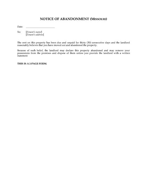 Rental Abandonment Letter notice of lease termination letter from landlord to tenant sle best templates