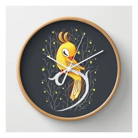 decorative wall clocks battery operated society6 magic canary wall clock 30 liked on polyvore
