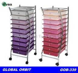 Colorful 4 tier plastic storage trolley with drawers space saving