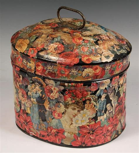 decoupage tins decoupage tin hat box hat box with handle and hing