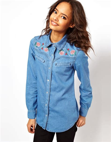 Embroidery Denim Shirt asos asos washed denim shirt with floral embroidery at asos