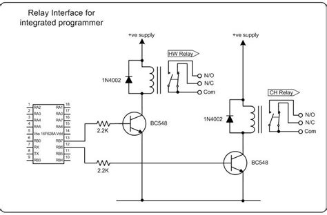 transistor driver relay microchip pic based central heating programmer with serial cli interface