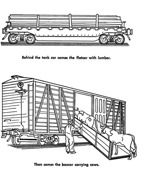Cattle Car Coloring Page | freight train and railroad coloring pages flatbed and