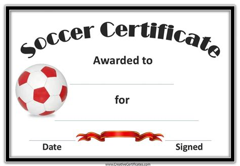 soccer certificates templates soccer award certificate template customize
