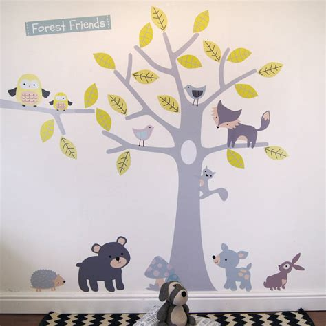 Woodland Animals Wall Stickers yellow and grey woodland animals and tree wall stickers by