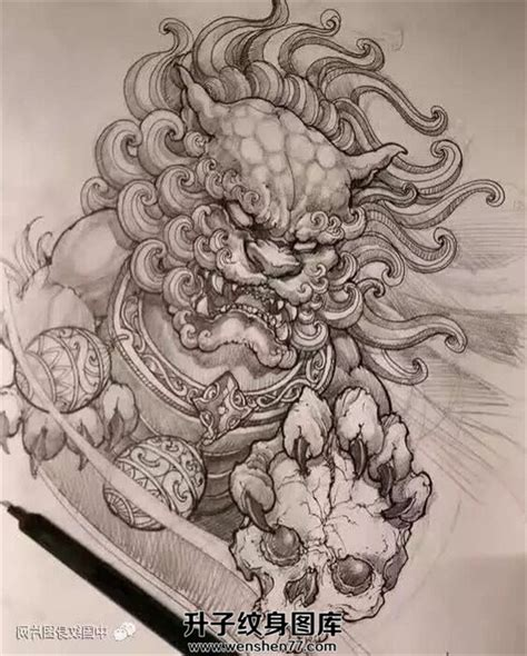唐狮纹身手稿图案 唐狮纹身价格 升子纹身